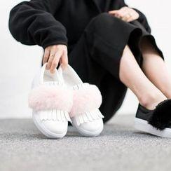 VIVIER - Faux-Fur Slip-Ons