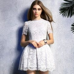 Queen Mulock - Short-Sleeve Lace Dress