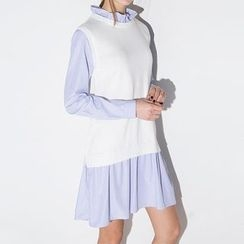 Obel - Mock Two Piece Knit Panel Striped Shirtdress
