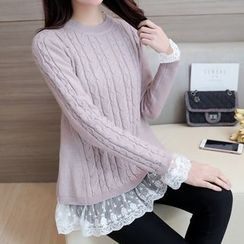 Shomez - Lace Underlay Cable Knit Sweater
