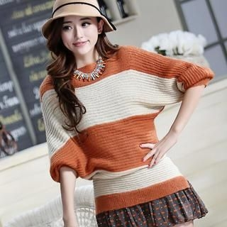 JVL - Batwing-Sleeve Color-Block Sweater