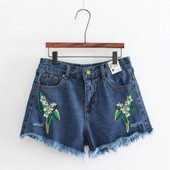 Aigan - Embroidered Denim Shorts