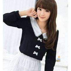 59 Seconds - Long-Sleeved Lace Collar Chiffon Blouse