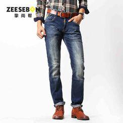 Zeesebon Washed Straight-Leg Jeans