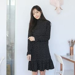 Envy Look - Ruffle-Hem Dotted Dress