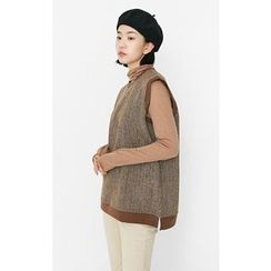 Someday, if - Sleeveless Contrast-Trim Wool Blend Knit Top