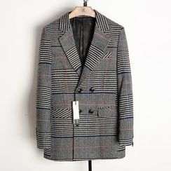 EDAO - Plaid Double-Breasted Blazer