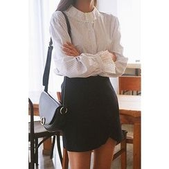 CHERRYKOKO - Lace-Collar Puff-Sleeve Stripe Blouse