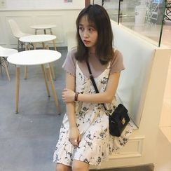 MATO - Floral Print Strappy Chiffon Dress
