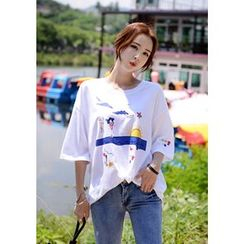 DEEPNY - Round-Neck Printed T-Shirt
