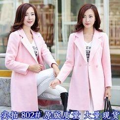 TRIST - Notch Lapel Long Woolen Coat