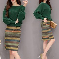 Lavogo - Set : Batwing Knit Top + Print Skirt