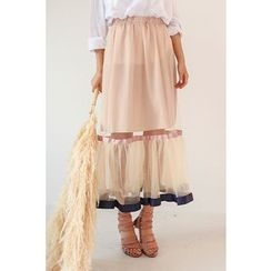 PPGIRL - Band-Waist Mesh-Trim Ruffled Skirt