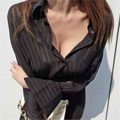 LIPHOP - Pleated Sheer Blouse