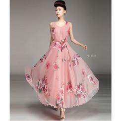 HOTCAKE - Floral Print Sleeveless Maxi Dress