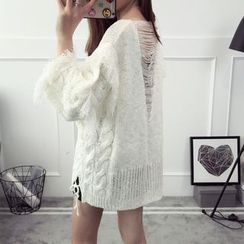 Qimi - Fringed Distressed Sweater