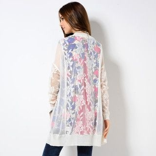 59 Seconds - Floral Mesh Cardigan