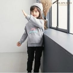 LILIPURRI - Girls Set: Lettering Brushed-Fleece Lined Sweatshirt + Band-Waist Pants