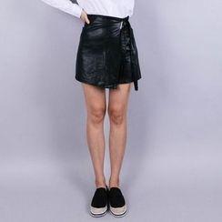 Vintage Vender - Wrap-Front Faux-Leather Mini Skirt