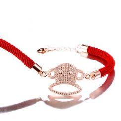 Zundiao - Sterling Silver Rhinestone Monkey Charm Braided Bracelet