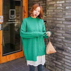 Seoul Fashion - Asymmetric-Hem Cable-Knit Sweater