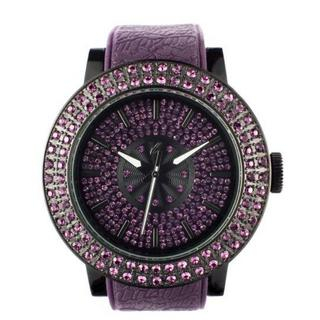 t. watch - Diamond Lens Glass Purple Strap Watch