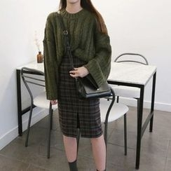 Alfie - 寬鬆半高領麻花長袖針織毛衣