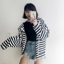 Chililala - Striped Hooded Zip Jacket