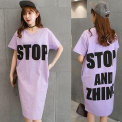 Au Naturel - Letter Short-Sleeve T-shirt Dress