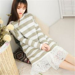 11.STREET - Wide Stripes Long-Sleeved Dress