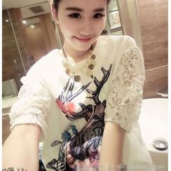 Fancy Show - Short-Sleeve Lace-Panel Printed Top