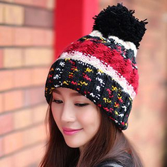 Eva Fashion - Colour Block Bobble Beanie