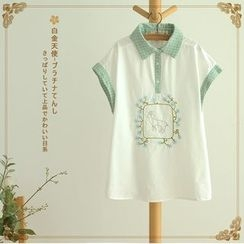 Softies - Short-Sleeve Check-Panel Embroidered Blouse