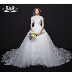 MSSBridal - Short Sleeve Wedding Ball Gown with Train