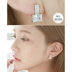 Miss21 Korea - Full-Rhinestone Silver Earrings