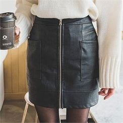 ERANZI - Zip-Up Faux-Leather Mini Skirt