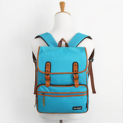 Mr.ace Homme - Faux Leather-Trim Buckled Backpack