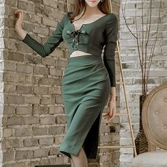 Aurora - Long-Sleeve Open-Front Sheath Dress