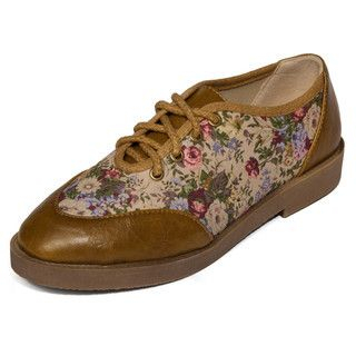 yeswalker - Faux Leather Panel Floral Lace-Up Flats