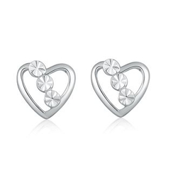 MaBelle - 14K/585 White Gold Dot in Heart Stud Earrings