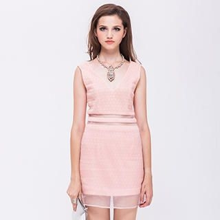 I-DOU - Sleeveless V-Neck Mesh-Panel Dress
