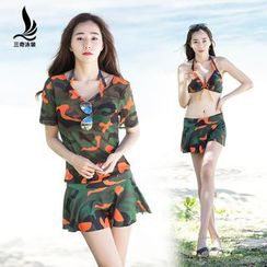 SANQI - Set : Camouflage 2-piece Swimdress + Short-Sleeve Cover-up
