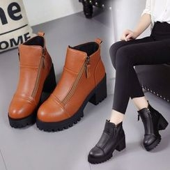 YIVIS - Block Heel Zip Ankle Boots