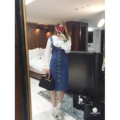 YANSAE - Buttoned Denim Jumper Skirt