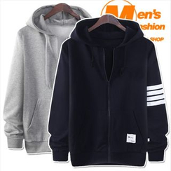 WIZIKOREA - Kangaroo-Pocket Striped Hoodie