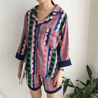 MISS YOYO - Pajama Set: Printed Long-Sleeve Top + Shorts