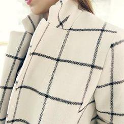 NANING9 - Wool Blend Check Coat