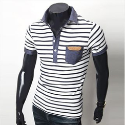 WIZIKOREA - Short-Sleeve Striped Polo Shirt
