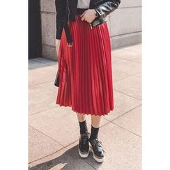 migunstyle - Band-Waist Pleated Skirt