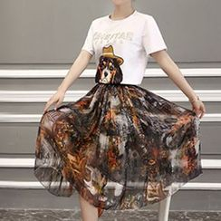 Romantica - Set: Printed T-Shirt + Printed Skirt